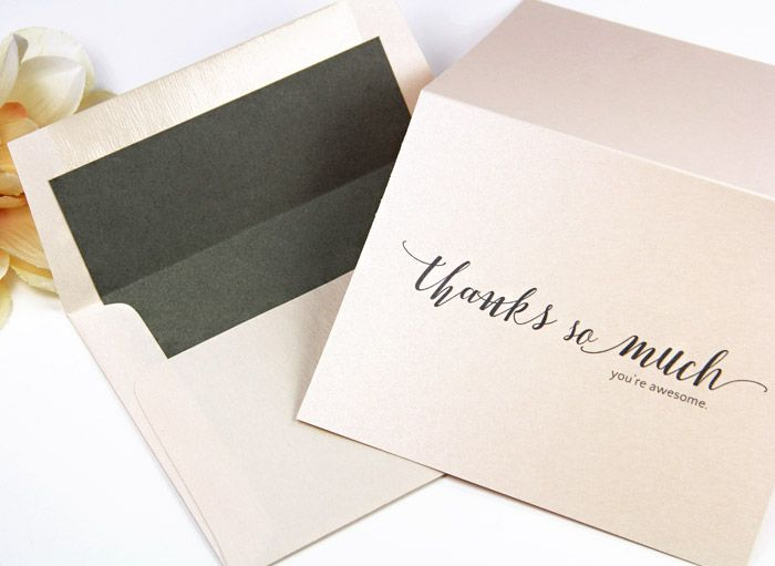 Metallic Blush Thank You Note And Matching Envelope Lined With Pre