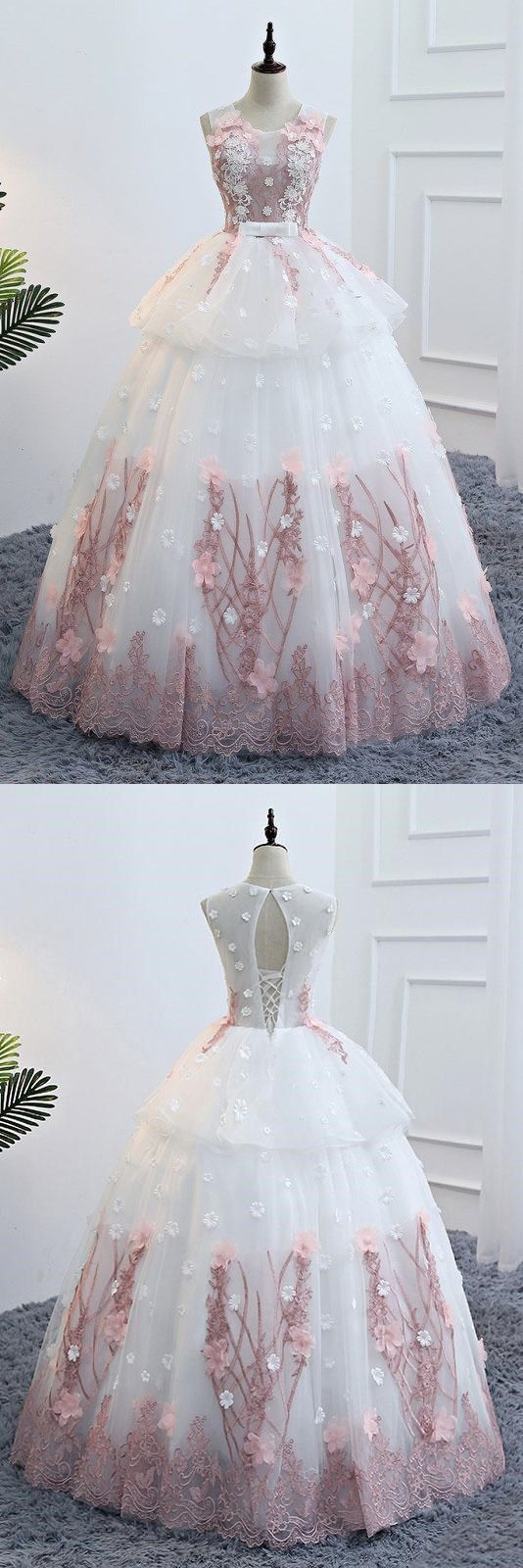 Cute white round neck lace applique long prom gown evening dress