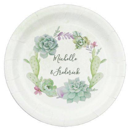 Watercolor Desert Cactus Succulents Wedding Paper Plate - calligraphy gifts custom personalize diy create your own  sc 1 st  Pinterest & Watercolor Desert Cactus Succulents Wedding Paper Plate ...