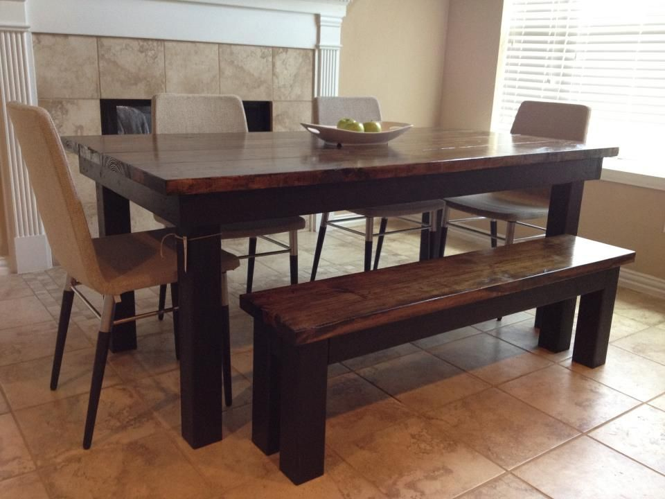 Monicas James Farmhouse Table Dark Wood Top And Black Base With Bench