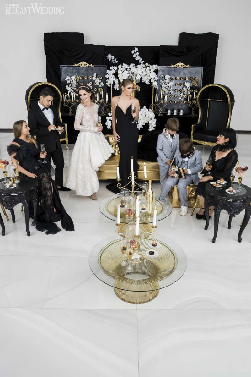Decor ideas for traditional wedding  Black and Gold Wedding Ideas Black Wedding Lounge  Versace