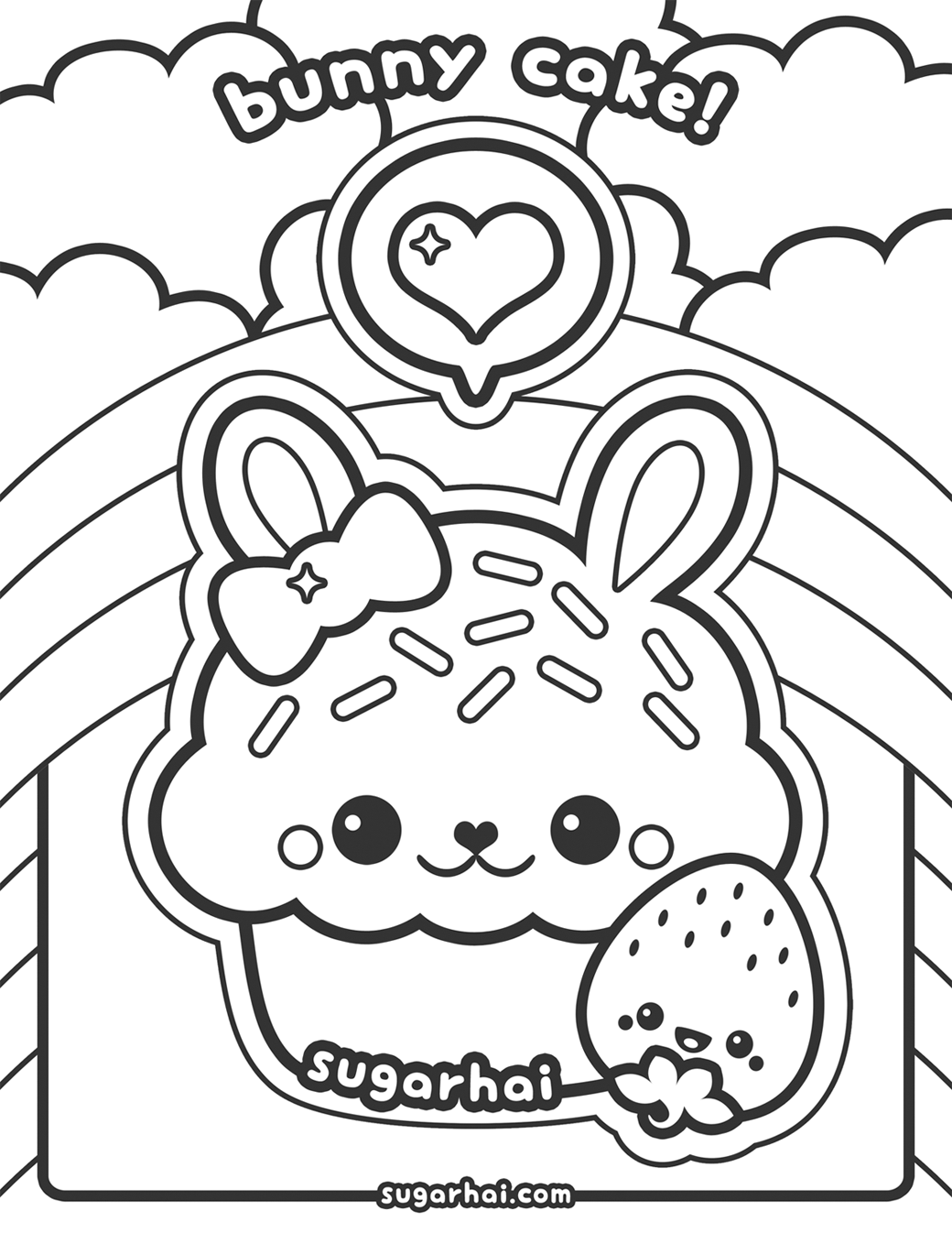 Free Bunny Cake Coloring Page (With images) Bunny