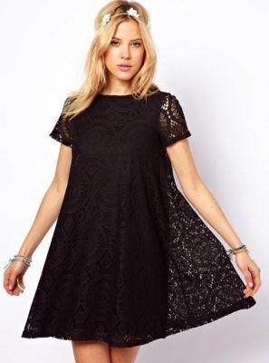 Vestidos de fiesta negro corto suelto