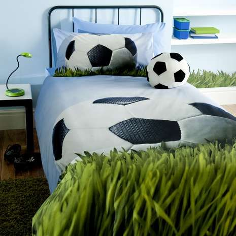 Featuring A Large Football Print On Blue Background Our Duvet Cover Set Is Crafted