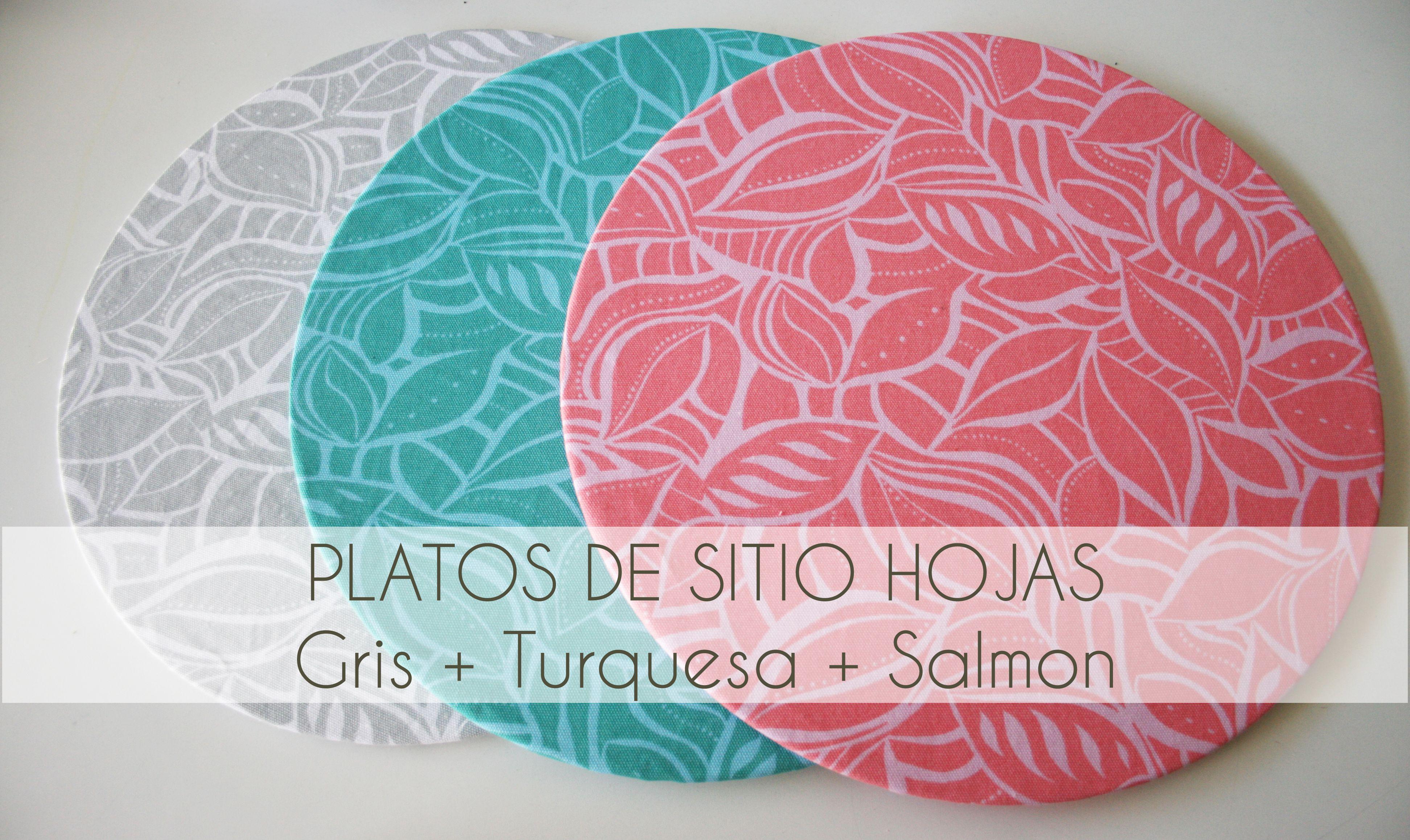 Trío Hojas. Gris+turquesa+salmón