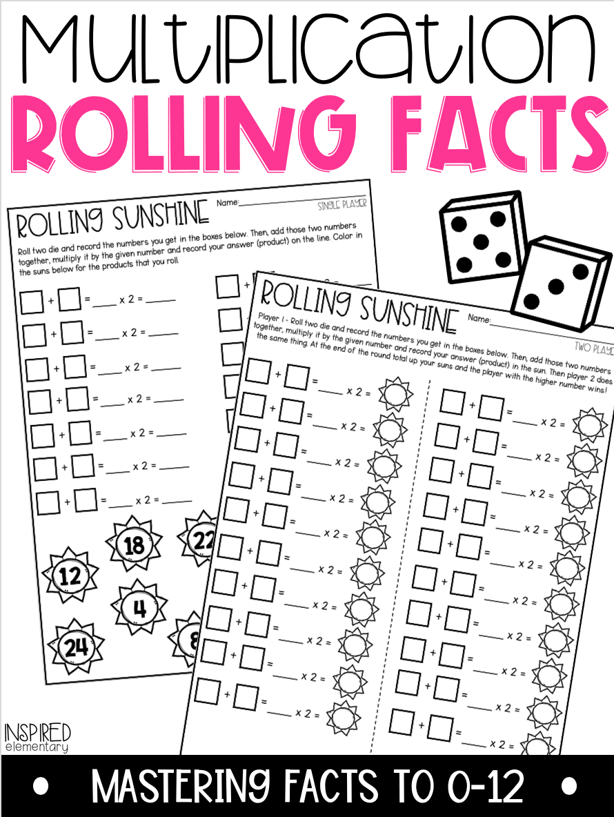 Multiplication Rolling Facts Multiplication Facts To 12 Math Fact Practice Math Activities Elementary Math Facts [ 1184 x 890 Pixel ]