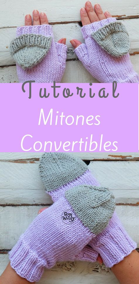 Mitones Convertibles tejidos en dos agujas o palillos   Pinterest ...