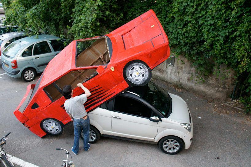benedetto bufalino transforms a car into a cardboard ferrari | best