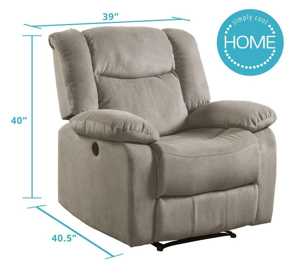 Recliner Fabric Taupe From Lifestyle Power Leather Reclining