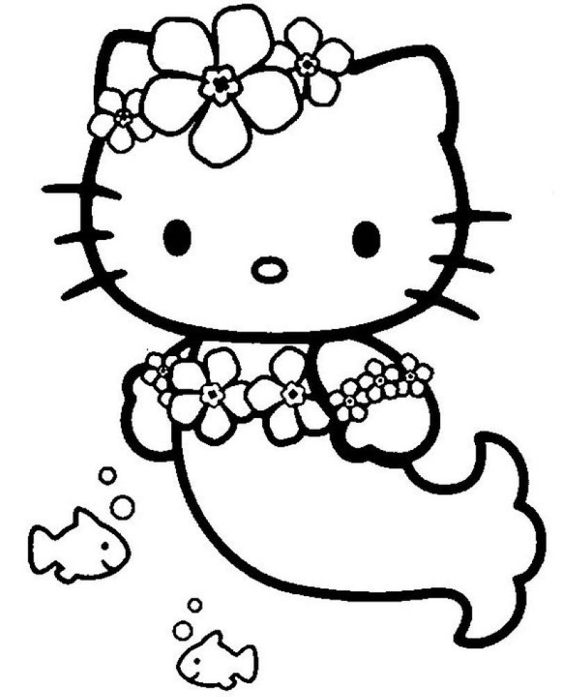 Mermaid Cat Coloring Page Youngandtae Com Hello Kitty Coloring Hello Kitty Colouring Pages Mermaid Coloring Pages