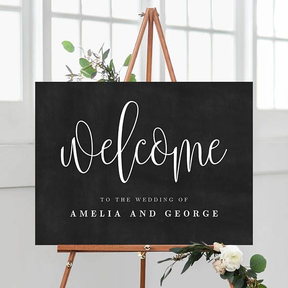 3 sizes wedding welcome sign poster with faux chalkboard background