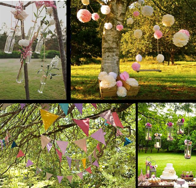 Decoraci n para rboles en tu boda pompones banderines for Farolillos de decoracion