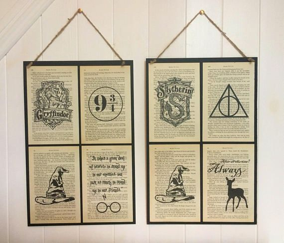 Harry Potter Book Page Art A3 Poster With Recycled Book Page Art Designs Or Book Quotes Book Page Art Harry Potter Book Recycled Book