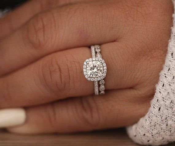 1.30ct Moissanite Engagement Ring, Cushion 6.5mm Moissanite 14k White Gold and Diamond Ring, Diamond Half Eternity Milgrain Band, Wedding