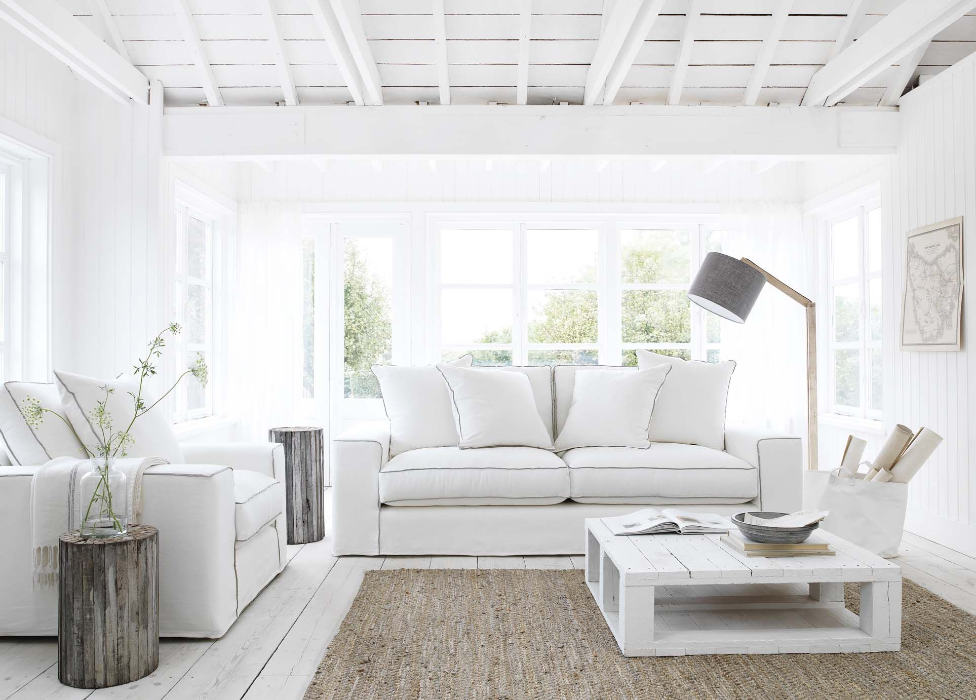 Schlafsofa Blau Beach House White Interior #coastalstyle | White House