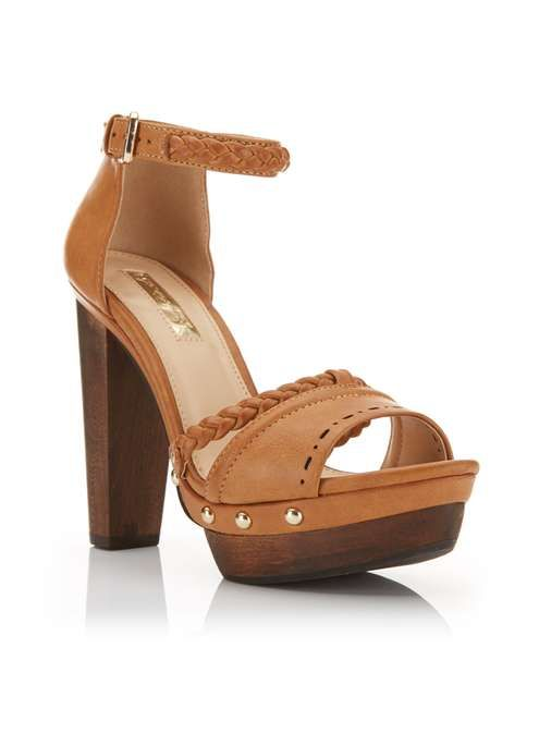 FLEUR Tan Wood Heel Sandal   Sandals