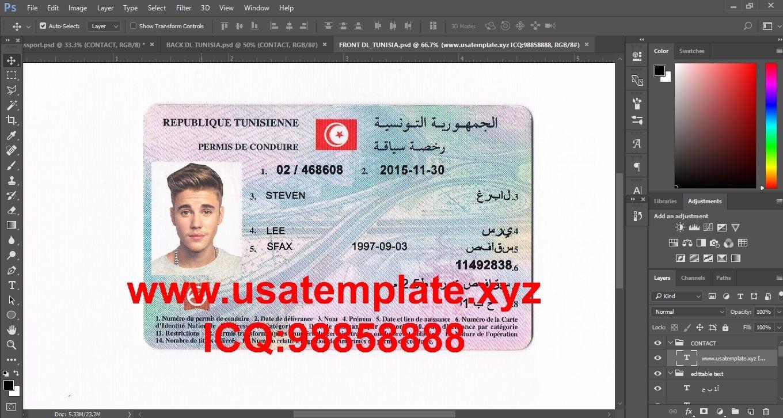 TUNISIE DRIVER LICENSE EDITABLE PSD TEMPLATE