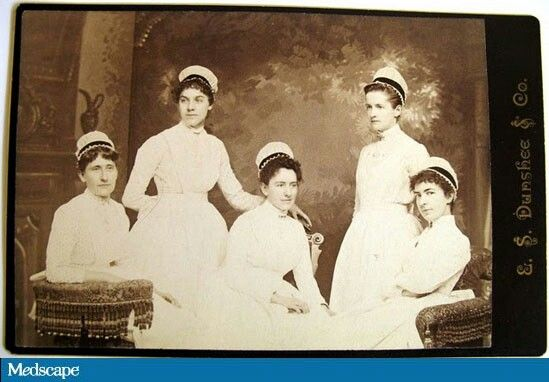 """MGH class of 1886 wearing the school's original nurse's cap, sometimes called the """"ether cap.""""Image courtesy of the Massachusetts General Hospital Nursing Alumnae Association."""