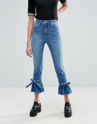 ASOS FARLEIGH High Waist Slim Mom Jeans with Flared Bow Hem in Prince Wash b7ef54fa2a1