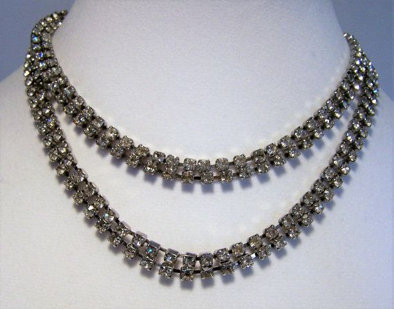 Crystal Rhinestone 39 Inch Necklace Belt Silver Tone Adjustable 1116DGZ