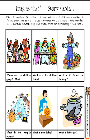 Grade 1 Halloween Worksheet - Story cards | Grandma\'s Box ...