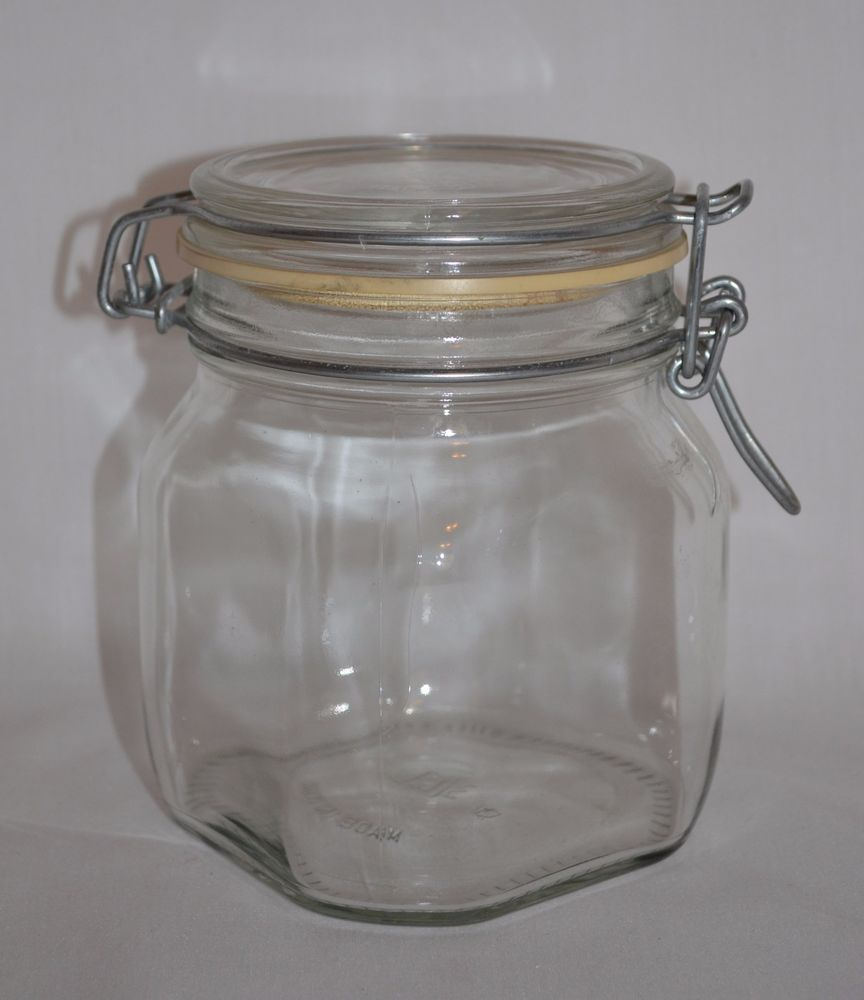 vintage arc france niveau glass jars canisters wire bale closure 1