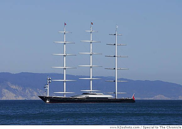 Spectacular yacht Maltese Falcon due in bay Fast cars