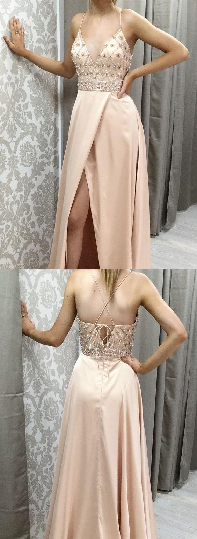 的 elegant champagne prom dress with beading fashion spagehtti