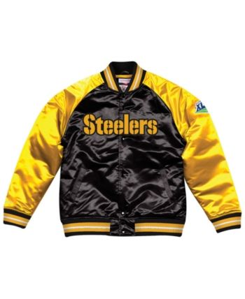 73f616919 Mitchell & Ness Men's Pittsburgh Steelers Tough Season Satin Jacket -  Black/Yellow XXL
