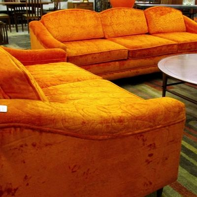 Brilliant 1970S Sofa And Matching Loveseat Both Have Original Orange Unemploymentrelief Wooden Chair Designs For Living Room Unemploymentrelieforg