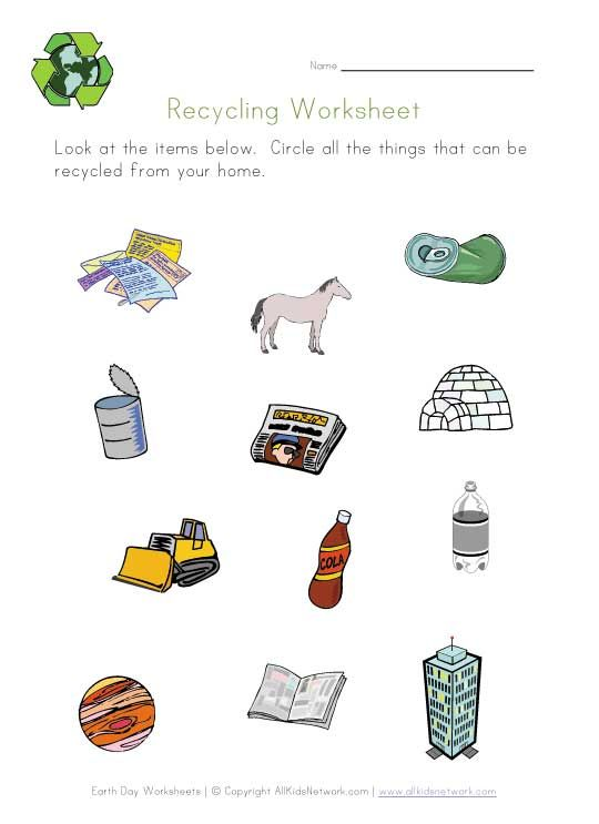 Recycling Printable  Preschool  Earth Day  Pinterest