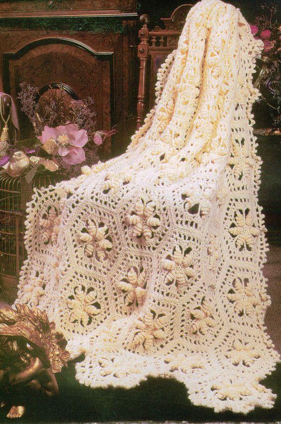 Curlicue Hexagons Afghan Crochet Pattern PDF | Ganchillos afganos ...