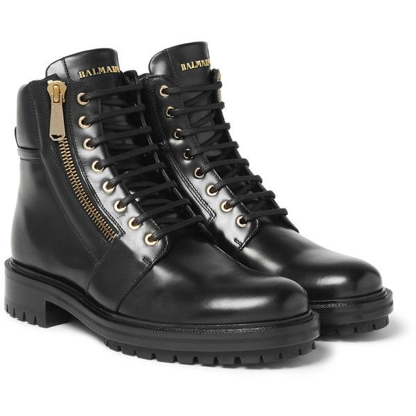 Balmain Army Ranger Leather Boots 1 350 Liked On Polyvore