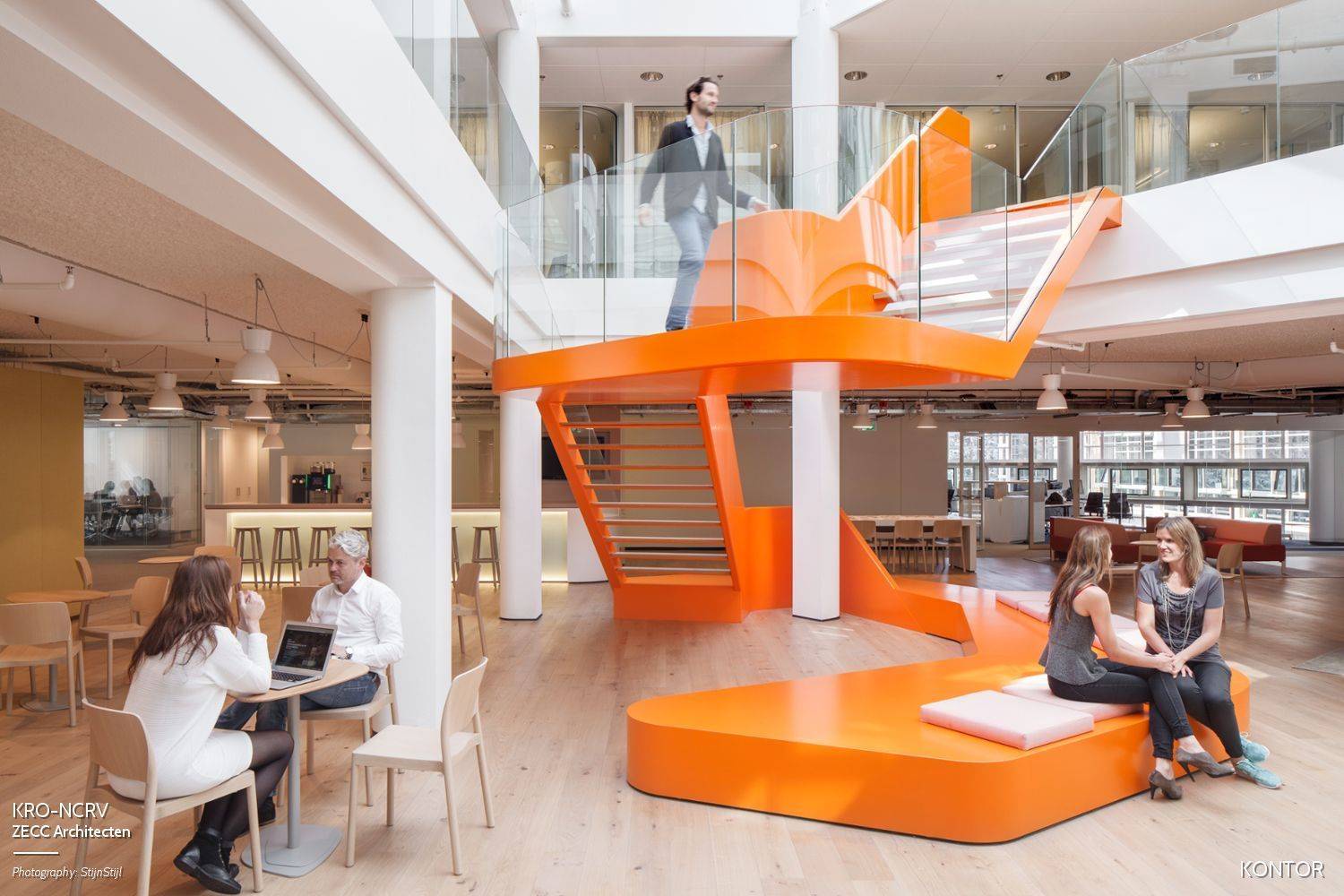Monumental Stair Orange Open Atrium Stairs Design Staircase Design Coworking Space Design