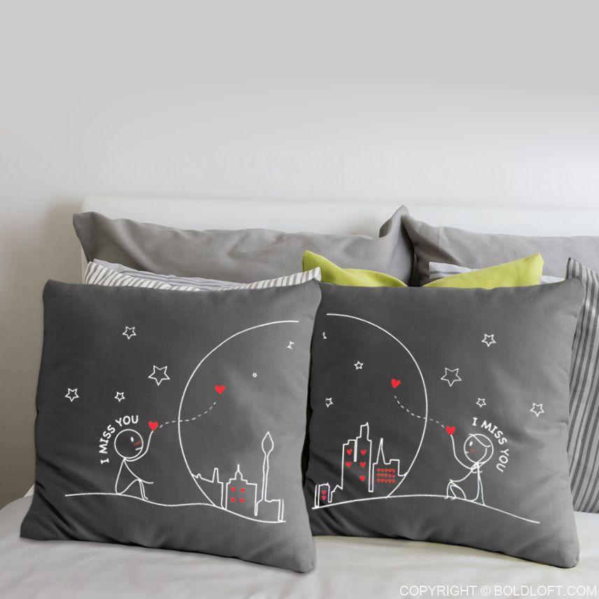 BoldLoft Miss Us Together Grey Euro Pillow Cover Set