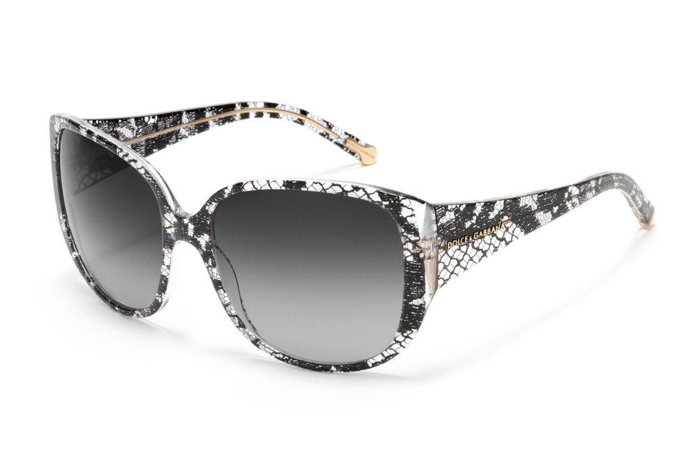 5c6cfe338cc Dolce   Gabbana D G Women Black Lace Sunglasses - Oversize Frame in Crystal