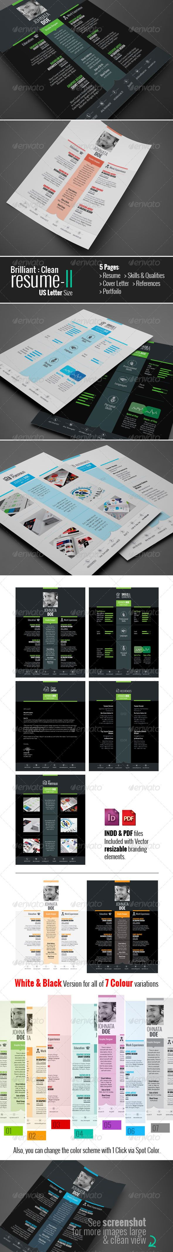 Brilliant Resume II — InDesign INDD #bio-data #brand resume ...