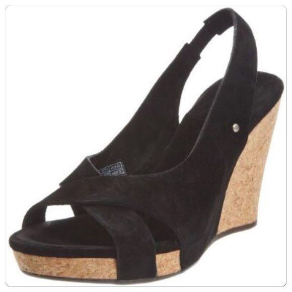 582f6da876c ♣️ UGG wedge heels shoes black /cork hazel 7 boots This is a worn ...