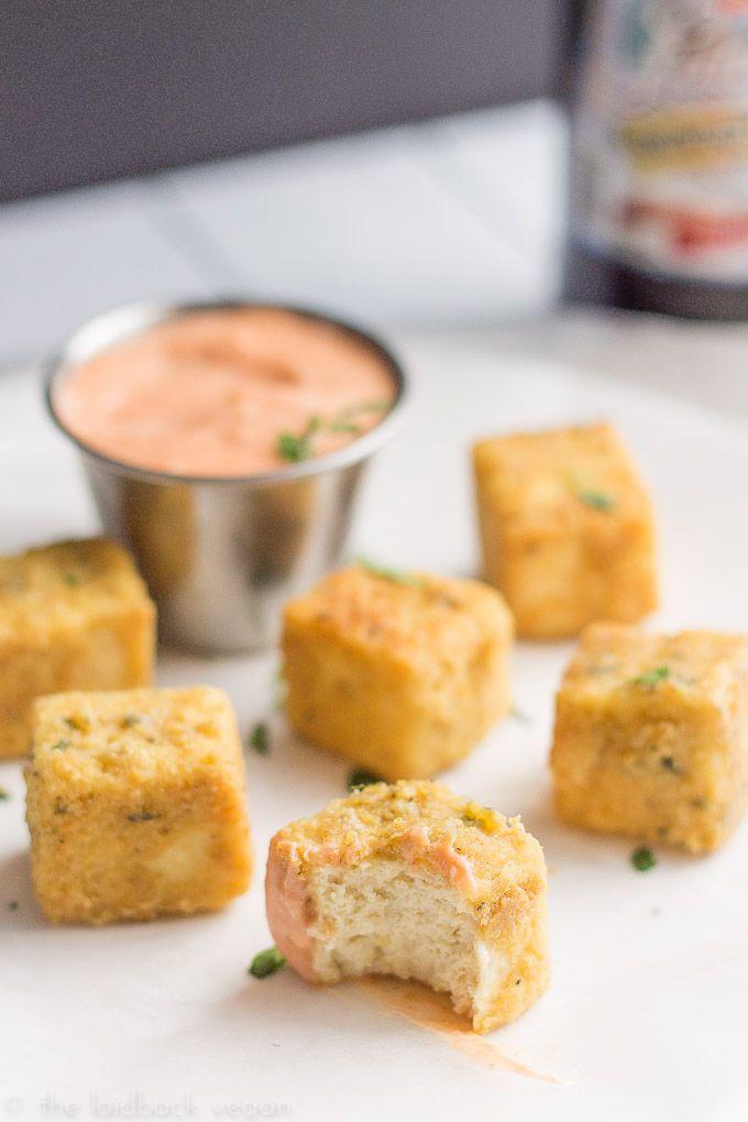 "Tofu ""Chicken"" Nuggets w/ Sriracha Mayo (Make sure to use organic tofu to avoid GMOs)"
