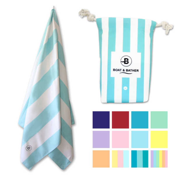 Candy Blue Microfiber Beach Towel Extra Large 200x90cm 78x35in Boat Bather In 2020 Beach Towel Microfiber Pool Towels