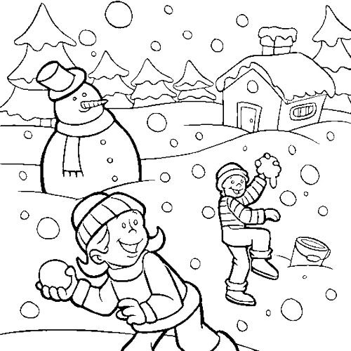 Children Playing Snow In Winter Coloring Page Coloring Pages Winter Cool Coloring Pages Kids Printable Coloring Pages