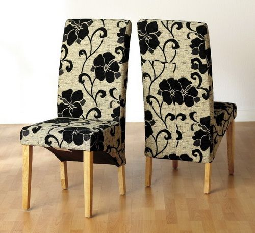 Black Flower Fabric Dining Chairs  Chairs  Pinterest  Dining Best Fabric Chair Covers For Dining Room Chairs 2018
