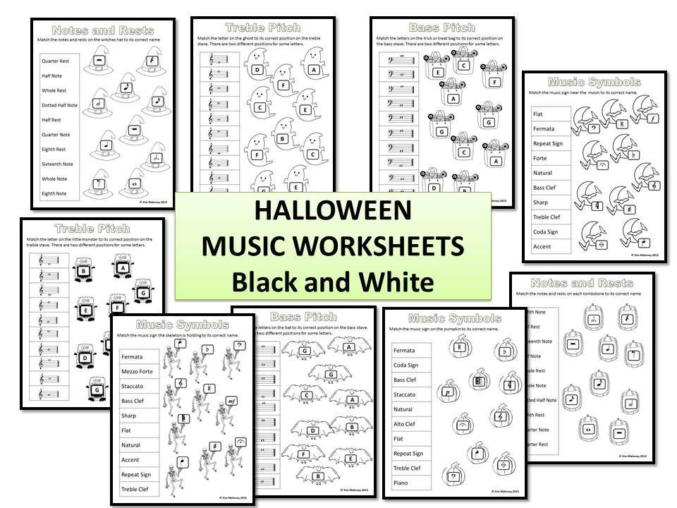 Halloween Music Activities 24 Halloween Worksheets B/W