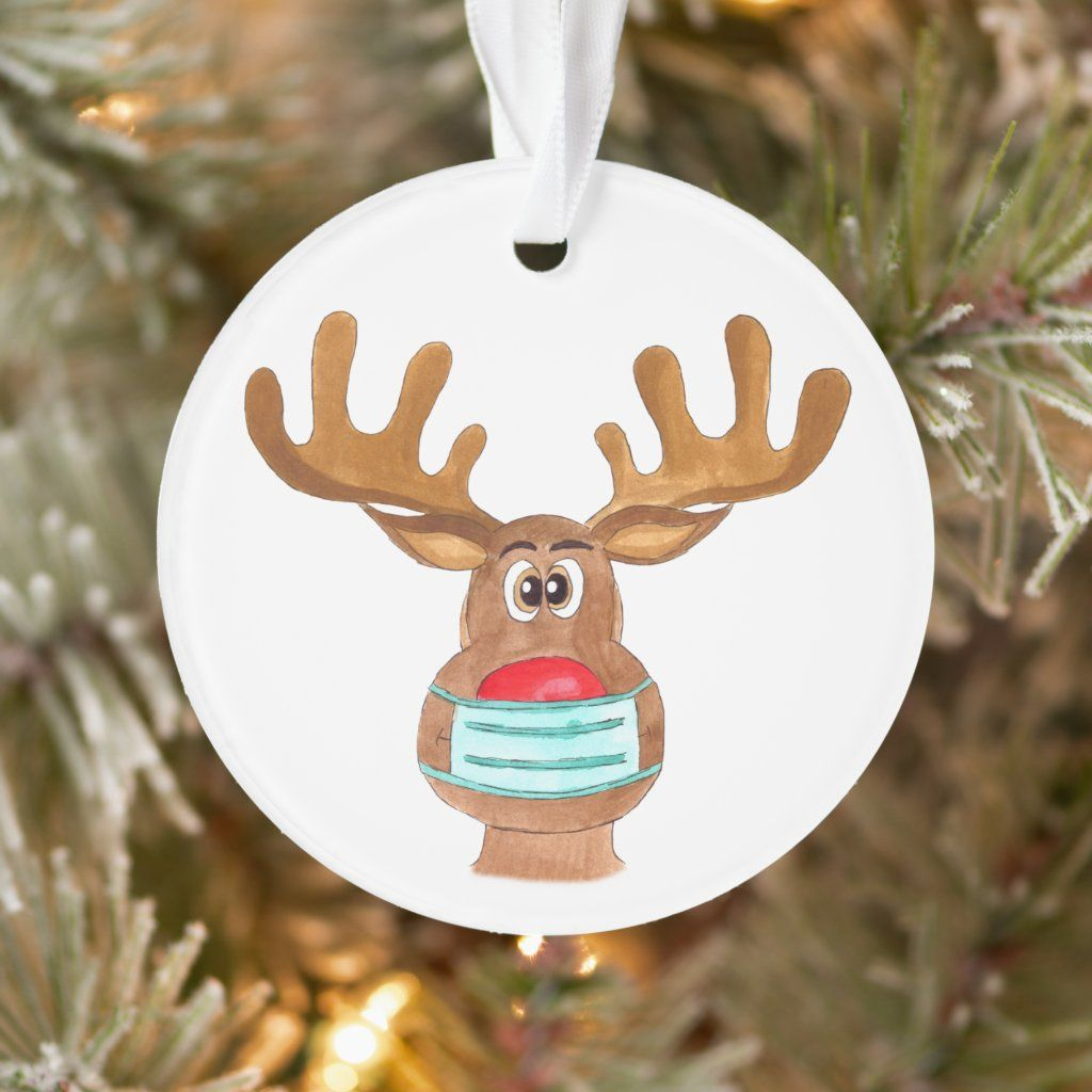 Rudolph The Face Masked Reindeer Ornament Zazzle Com Reindeer Ornaments Ornaments Handprint Ornaments