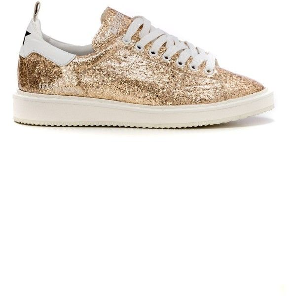 Golden Goose Sneakers ($385) ❤ liked on Polyvore featuring shoes, sneakers, gold, golden goose, rubber sole shoes, leather shoes, glitter shoes and real leather shoes