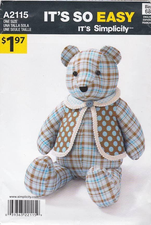 Simplicity Sewing Pattern A2115 2115 Stuffed 18\