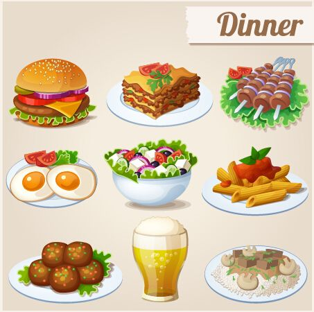 Food dinner. Tasty icons design vector