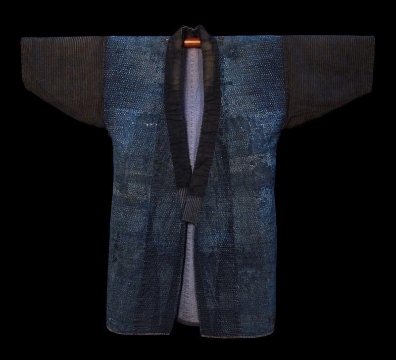 Indigo Dyed cotton, sashiko stitched farmers coat. 19th century.