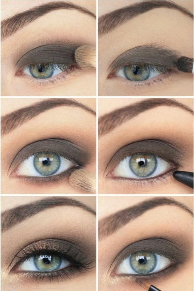 Smokey Eyes Fur Blaue Augen In Graubraun Einfache Anleitung