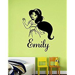 Personalized Name Princess Jasmine Wall Sticker Custom Removable - Custom removable vinyl decals